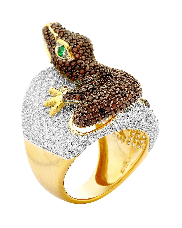 可爱萌物-鼹鼠 925银镀18k金密钉镶锆石女士动物形鸡尾酒戒指