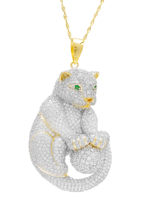 黛狄尔斯 可爱萌物-猎豹 925银镀18k金密钉镶锆石女士动物型吊坠