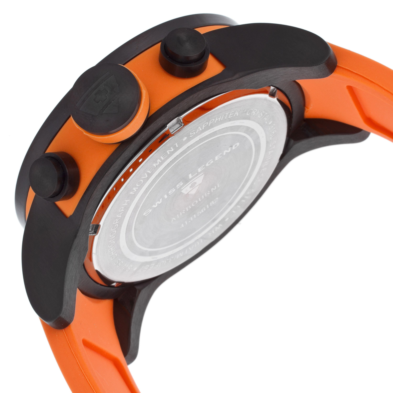 Swiss Legend 瑞士传奇Airbourne系列离子镀不锈钢圆形橙色硅胶石英男表 SL-30425-BB-01-OSA