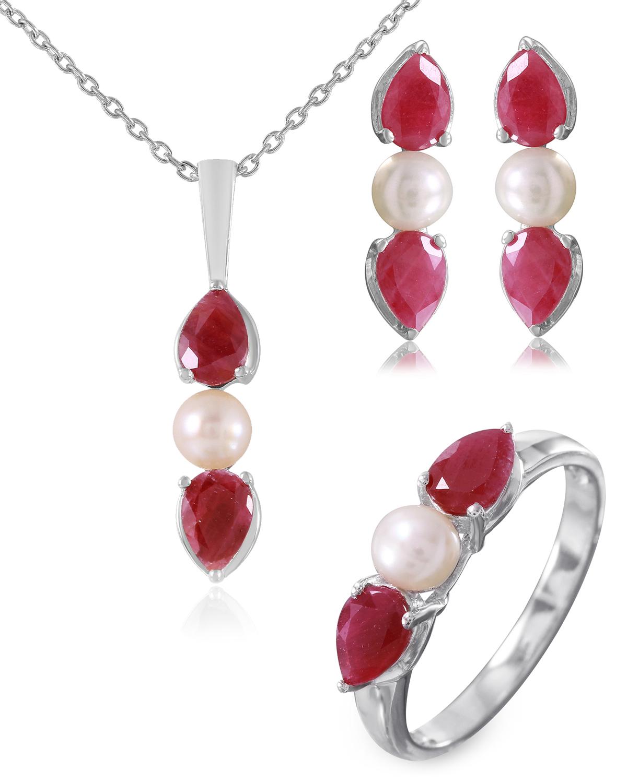 Quin 925纯银镀铑梨形红宝圆形珍珠珠宝套装