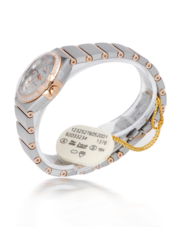 瑞士 Omega 欧米茄 星座系列 Cal.137618K玫瑰金镶钻石英女士手表 123.25.27.60.52.001