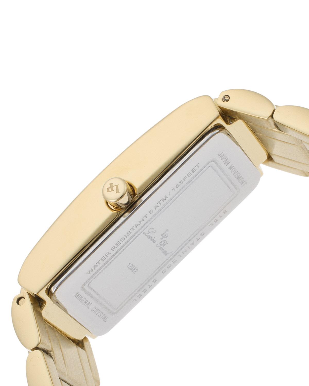 Lucien Piccard 卢森皮卡尔Marchesa系列离子镀不锈钢矩形金色石英机芯女士手表 LP-12982-YG-11