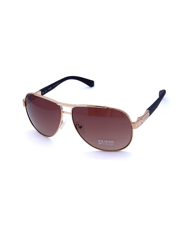 美式潮牌 Guess 盖尔斯 高质感男士飞行员太阳眼镜 GU6750-GLD34
