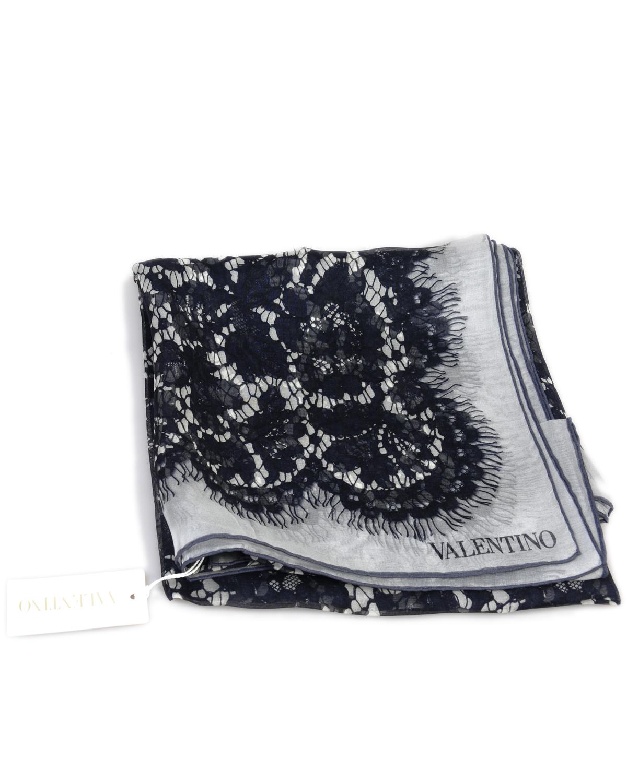 意大利 Valentino 华伦天奴魔力黑经典大气名媛必备真丝丝巾