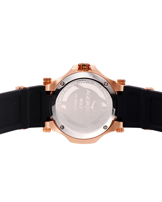 Aquaswiss 瑞士水绿 玫瑰金色316L精钢硅胶女士瑞士石英手表 39LD005