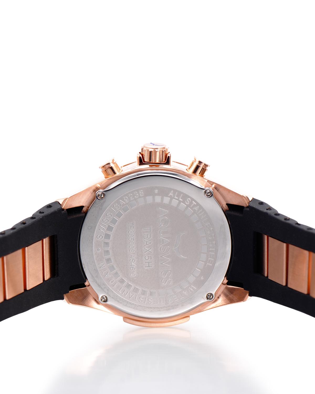 Aquaswiss 瑞士水绿 玫瑰金色316L精钢硅胶男士瑞士石英手表 TR805057