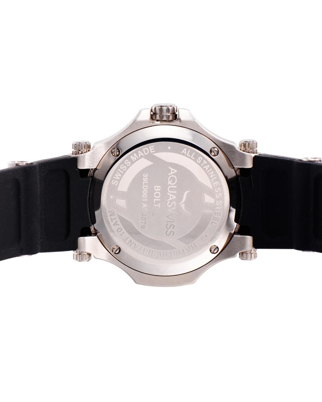 Aquaswiss 瑞士水绿 316L精钢黑色硅胶女士瑞士石英手表 39LD004