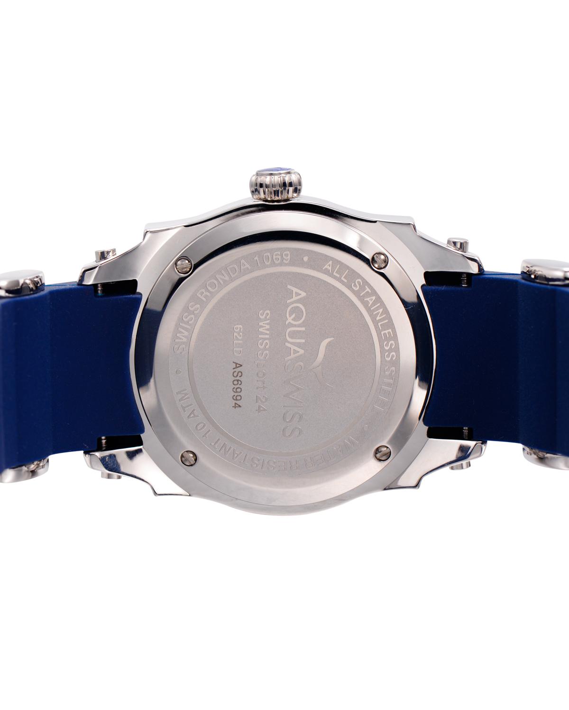 Aquaswiss 瑞士水绿316L精钢蓝色硅胶女士瑞士石英手表 62LD2403