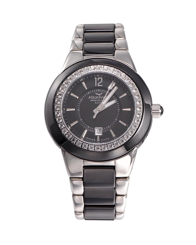 Aquaswiss 瑞士水绿316L精钢黑色陶瓷女士瑞士石英手表