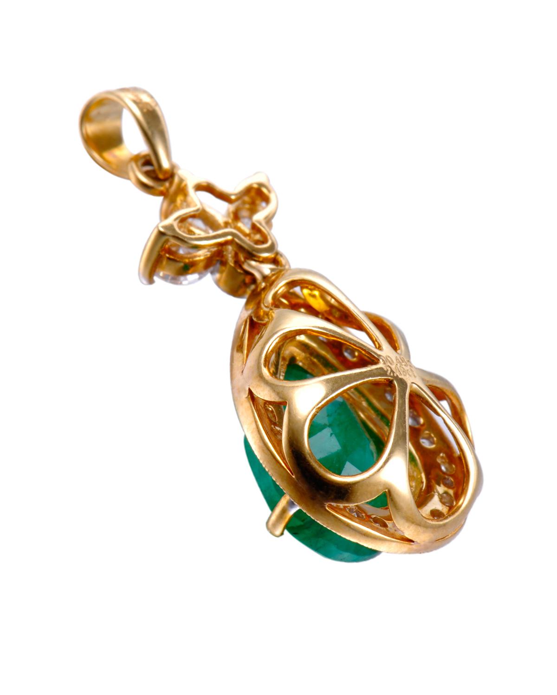 Celine Fang 赛琳.方 18K黄金2.97克拉总重祖母绿钻石水滴形吊坠