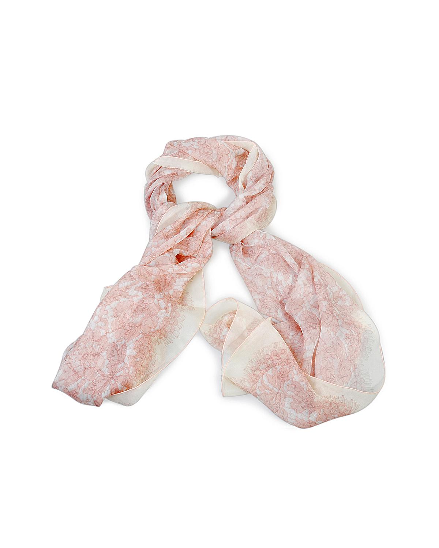 意大利 Valentino 华伦天奴优雅名媛时尚粉色真丝女士丝巾
