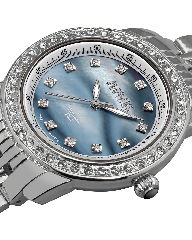 【强烈推荐】August Steiner 八月施泰纳蓝色珍珠贝母表盘石英机芯女士腕表AS8045SS