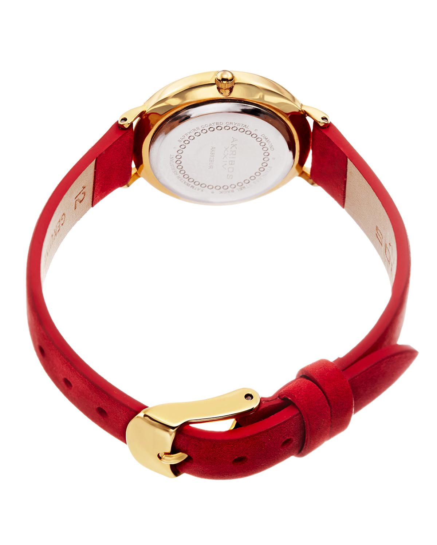 Akribos XXIV 阿克波斯 红色真皮简约女士石英腕表