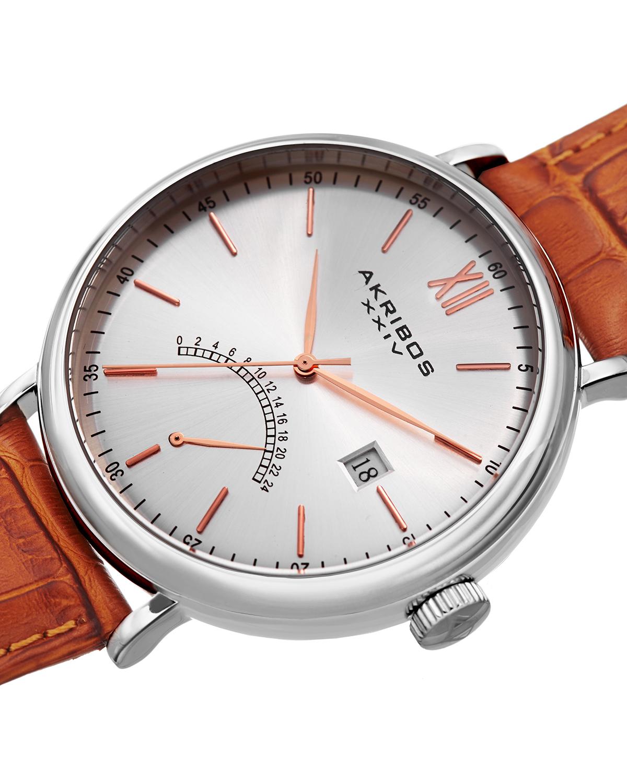 Akribos XXIV 阿克波斯 棕色表带银色精钢表盘男士石英腕表