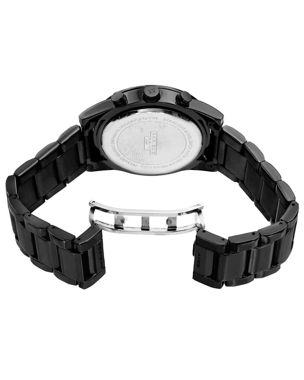 Akribos XXIV 阿克波斯 黑色精钢表链镶施华洛世奇水晶表圈男士石英腕表 AK868BK