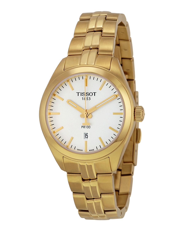瑞士名表 Tissot 天梭 PR100系列奢华镀黄金女士石英腕表T101.210.33.031.00
