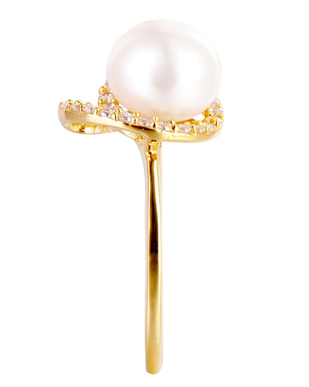 高级定制 Celine Fang 赛琳.方 925银精镶锆石金色简约型戒托白色天然珍珠戒指 7#