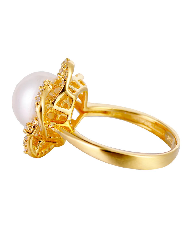 高级定制 Celine Fang 赛琳.方 925银精镶锆石金色花朵型戒托白色天然珍珠戒指 7#