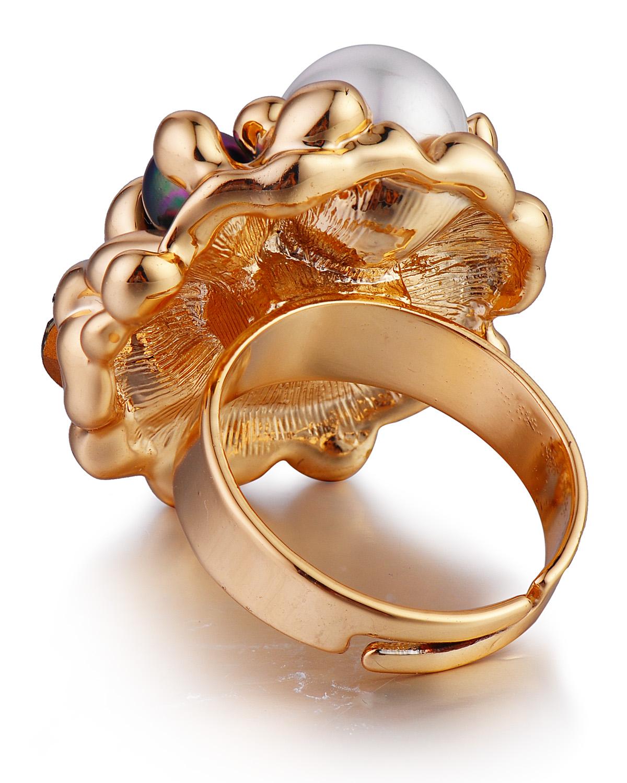 独家定制 Yanna Jewellery 欧美款施华洛世奇水晶嵌黑白贝珠奢华典雅女士戒指