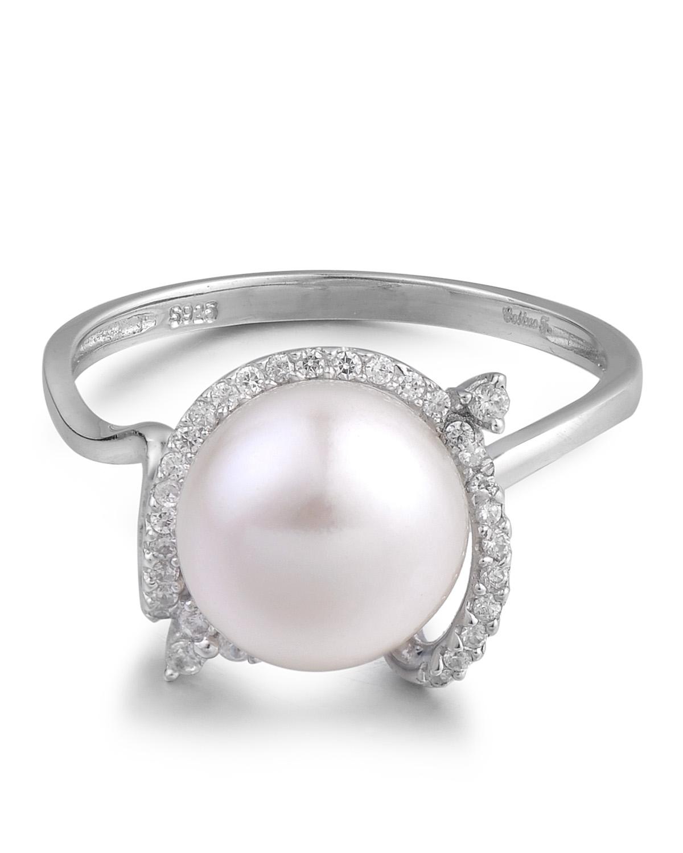 高级定制 Celine Fang 赛琳.方 925银精镶锆石白色天然珍珠戒指 9#
