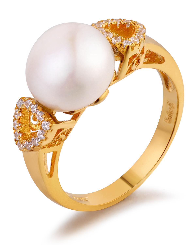 Celine Fang 赛琳.方 925银镀金时尚个性白色珍珠戒指 7#