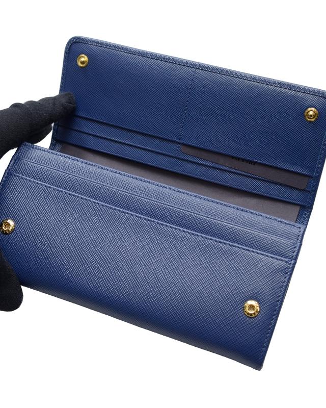 意大利 PRADA 普拉达 蓝色牛皮长款啪钮女士钱包 1MH132 QWA F0016