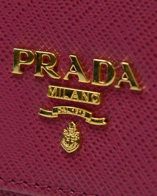 意大利 PRADA 普拉达 桃红色牛皮长款啪钮女士钱包 1MT437 UZF F0BA8