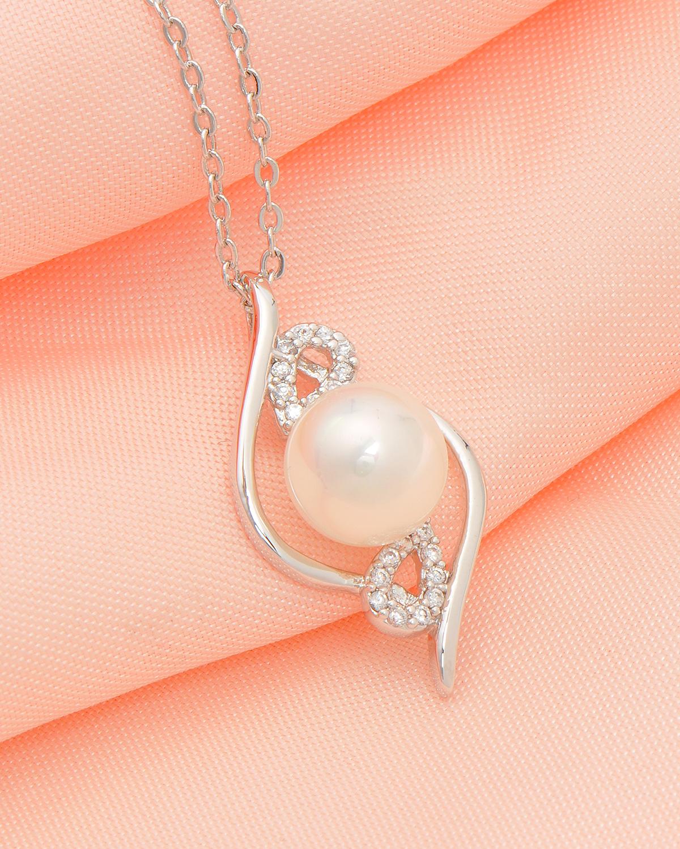 高级定制 Celine Fang 赛琳.方 镀白金精镶锆石简约白色贝珠项链 珠子9.2mm