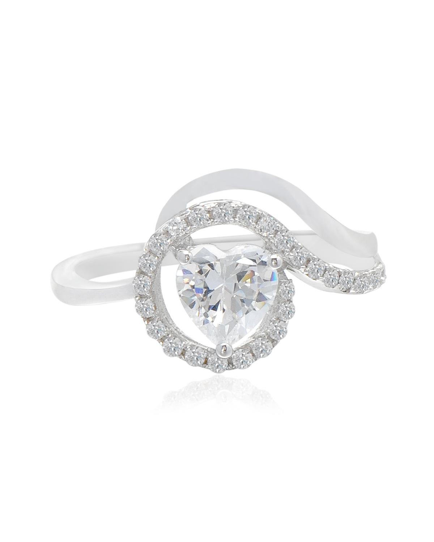 Celine Fang 925银镀白金时尚心形璀璨闪耀都市白领必备女士戒指