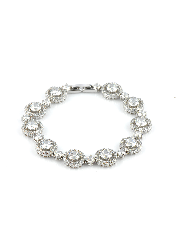 Attwood & Sawyer 白色圆形碎钻石水晶手链