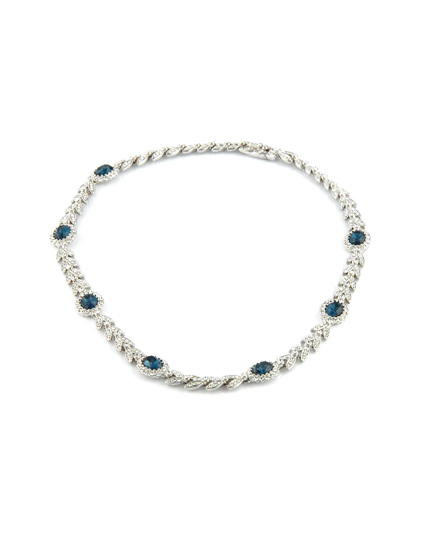 Attwood & Sawyer 宝蓝色水晶叶子水晶项链和手链