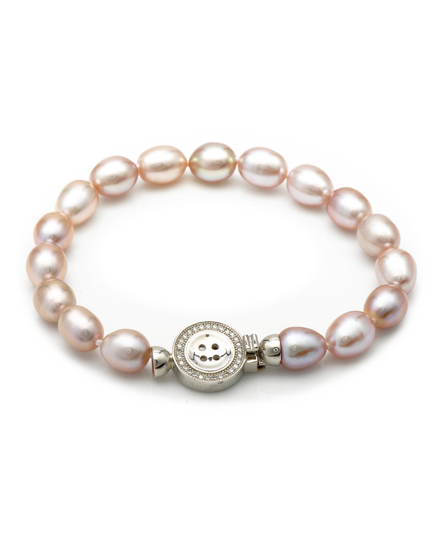 Bouton 纽扣头粉色珍珠手链