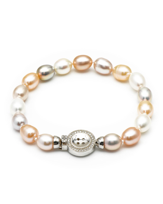 Bouton 纽扣头彩色珍珠手链