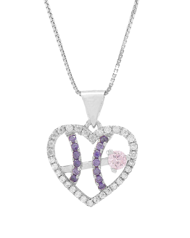 Celine Fang 赛琳·方 星座系列 925银双鱼座心形项链 紫+粉