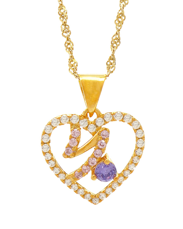 Celine Fang 赛琳·方 星座系列 925银镀金摩羯座心形项链 粉+紫