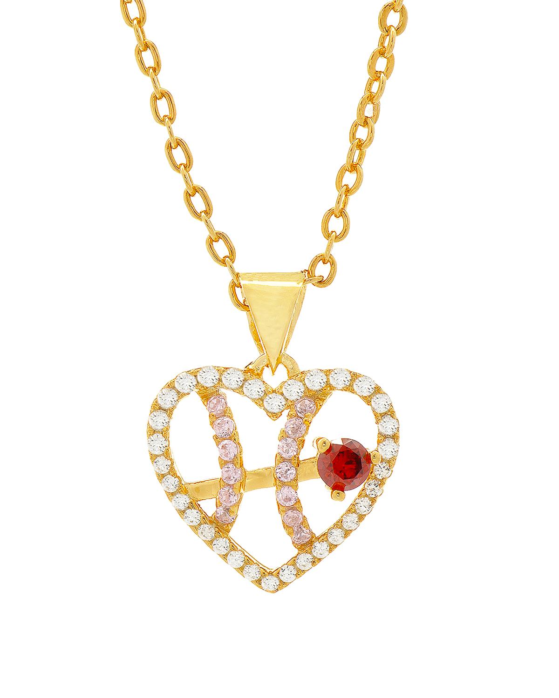 Celine Fang 赛琳·方 星座系列 925银镀金双鱼座心形项链 粉+红