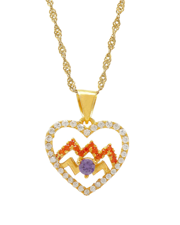 Celine Fang 赛琳·方 星座系列 925银镀金水瓶座心形项链 橙+紫