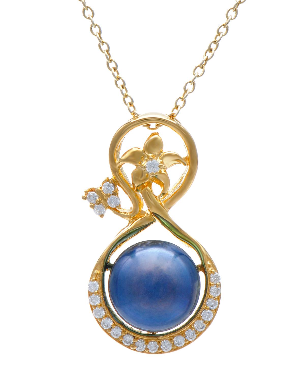 Celine Fang 赛琳.方 925银镀金古典优雅黑色珍珠吊坠 赠送链子