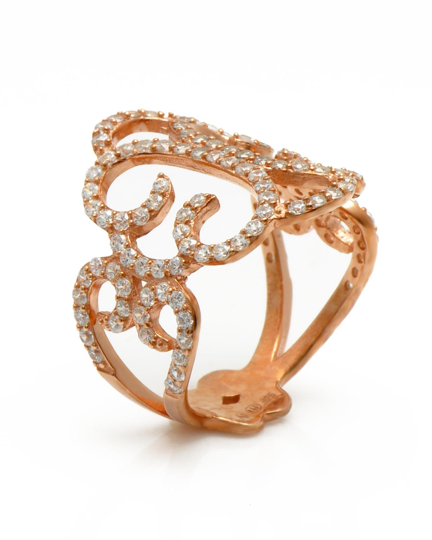 APM MONACO 纯银镶晶钻镂空图腾玫瑰金短款戒指