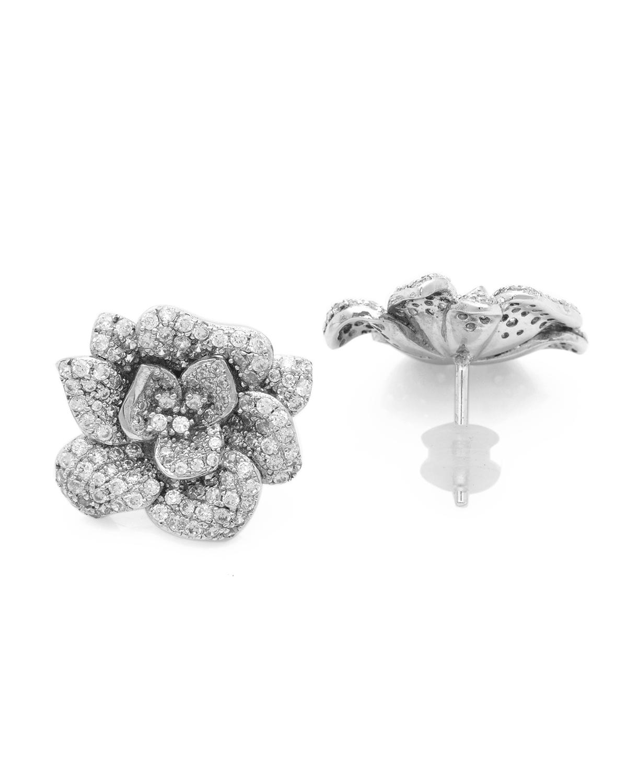 APM MONACO 纯银镶晶钻花朵耳钉