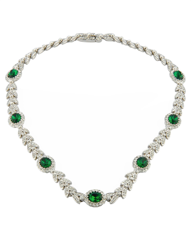Attwood & Sawyer 祖母绿椭圆形水晶叶子形状晚宴项链和手链