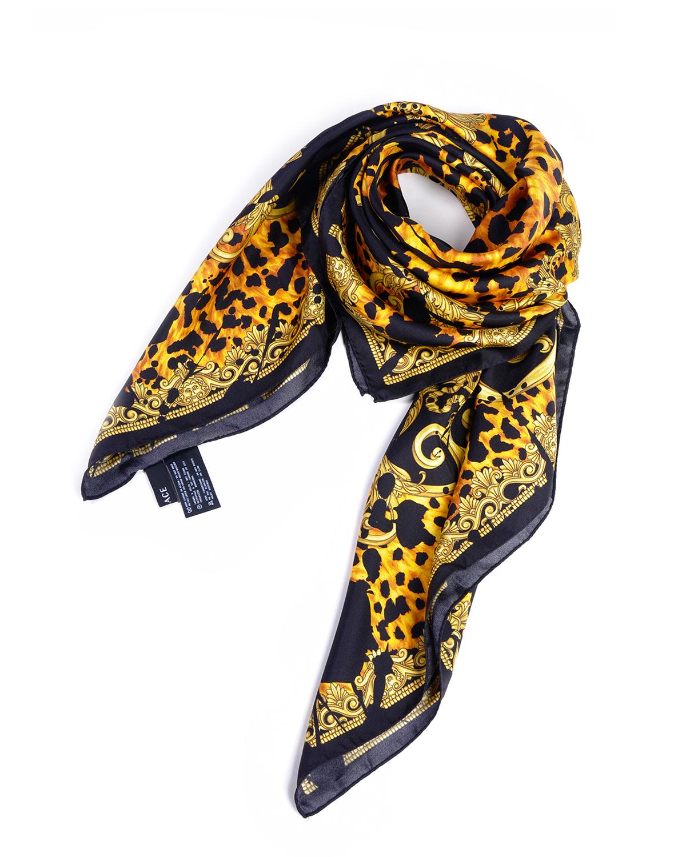 意大利 Versace 范思哲黄黑色真丝性感优雅人气爆款女士时尚丝巾