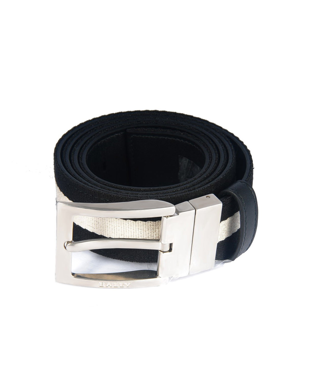 瑞士 Bally 巴利 男士黑白织物银色针扣皮带 TONNI-35.TL/600
