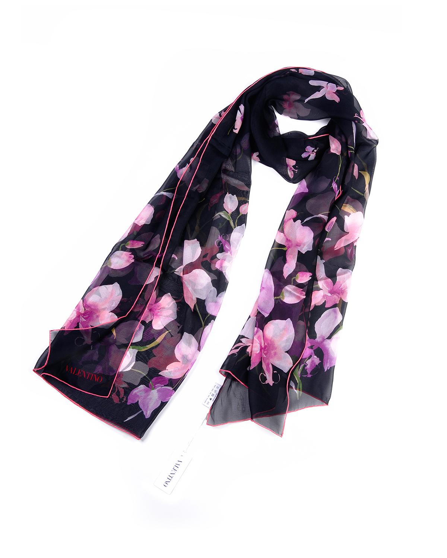 意大利 Valentino华伦天奴黑色印花围巾 VS7020-68802