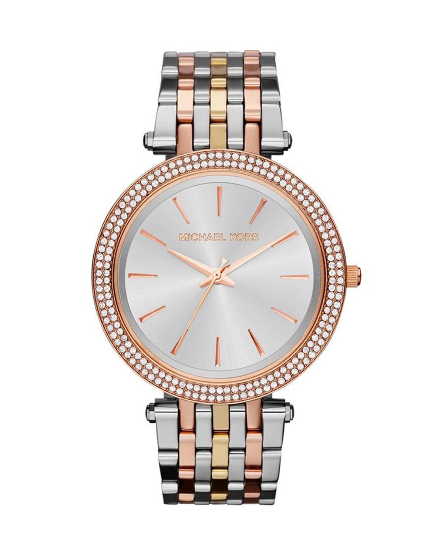 Michael Kors 迈克高仕银色时尚圆盘镶钻女士手表 MK3203
