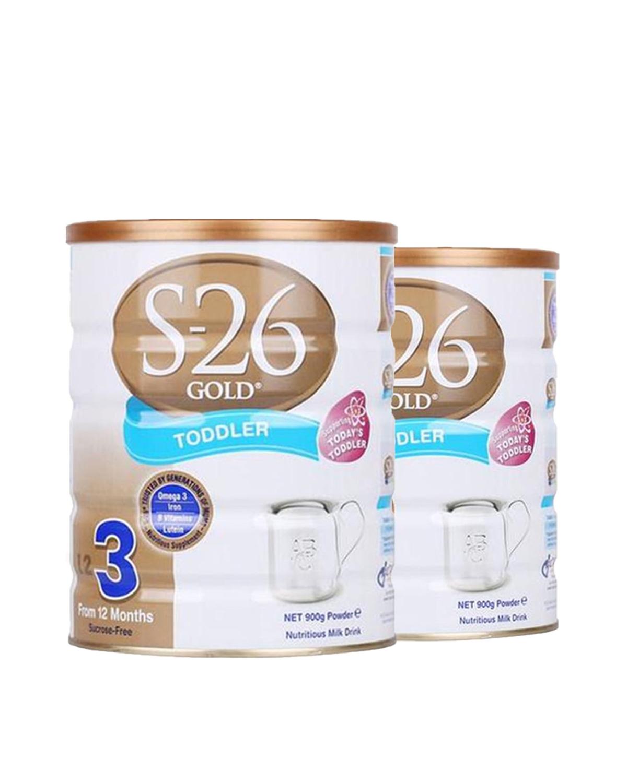 澳洲惠氏S26金装新生婴儿牛奶粉3段 1-3周岁宝宝 900g 2罐装