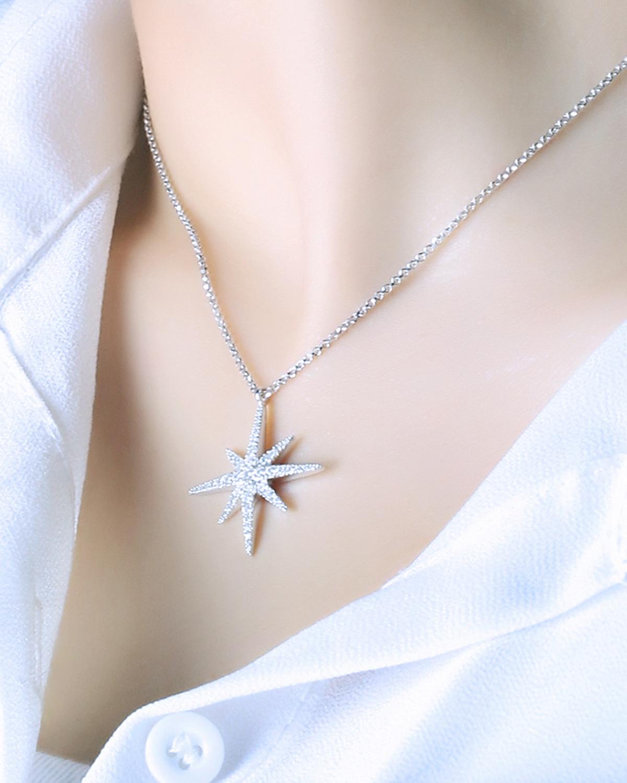 APM Monaco 粉金色纯银镶晶钻流星项链