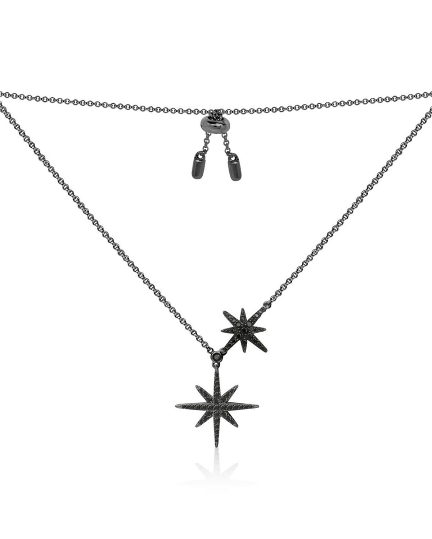 APM Monaco 黑色纯银镶晶钻双流星项链