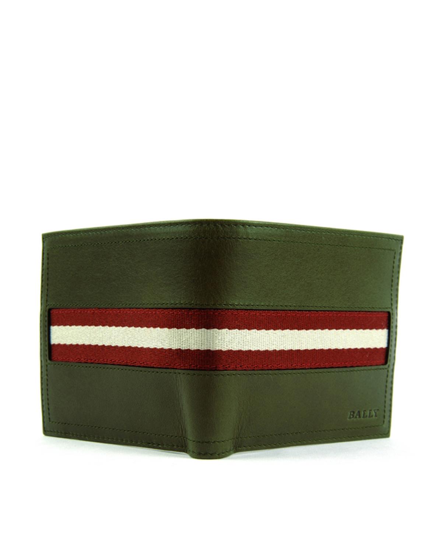 瑞士Bally巴利 绿色牛皮配帆布条纹男士短款敞口两折钱夹钱包6214887-699