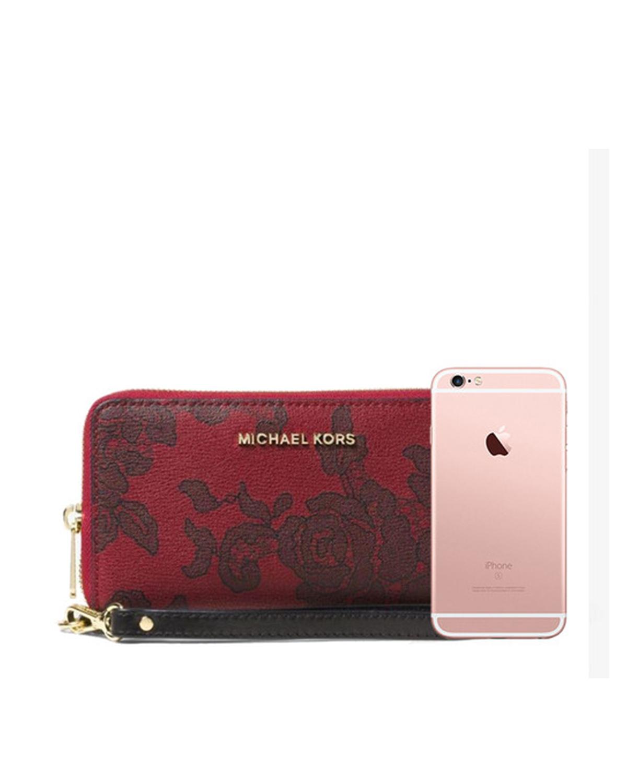 美国 Michael Kors迈克高仕 樱桃红蕾丝花皮女士长款手拿包 32H6GL8-E9T-Cherry